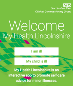 My Health Lincolnshire is an interactive app to promote self-care advice for minor illnesses.